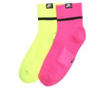 Socken hellgelb / pink