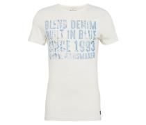 T-Shirt mit Schrift-Print blau / offwhite