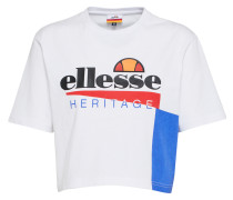 Cropped T-Shirt 'carezza' weiß