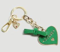 Schlüsselanhänger 'Charm Herz' gold / grün