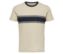 T-Shirt hellbeige / dunkelblau