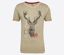 T-Shirt 'Jagdlied Shirt' beige / mischfarben