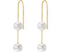 Ohrhänger 'Pearls' gold / weiß / perlweiß