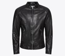 Jacke 'jcotim Leather Jacket' schwarz