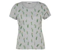 T-Shirt 'happy Isa' graumeliert / grasgrün