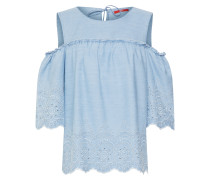 Cold Shoulder-Denimbluse blau