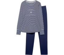 Schlafanzug 'Chloe' blau / weiß