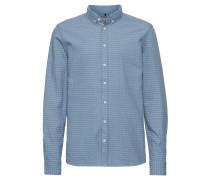 Freizeithemd mit Muster rauchblau / weiß