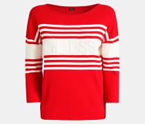Pullover hellrot / naturweiß