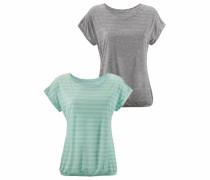 T-Shirts (2 Stück) graumeliert / mint