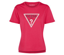 T-Shirt 'triangle Studs' pink / weiß