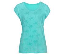 T-Shirt mit Palmen türkis / anthrazit