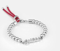 Armband 'Be My Friend' cranberry / silber