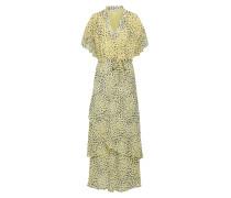 Kleid 'Agni' hellgelb / schwarz / weiß