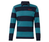 Langarm-Poloshirt türkis / dunkelblau