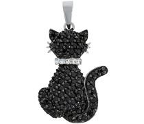 Kettenanhänger »Katze« schwarz / silber
