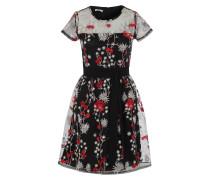 Kleid mit Blumenstickereien rot / schwarz