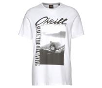 T-Shirt 'Frame' dunkelgrau / weiß