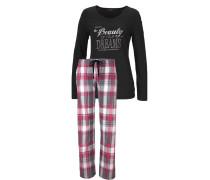 Kuscheliger Pyjama mit Frontprint mit Glanzdetails