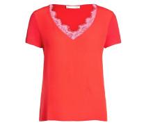 T-Shirt mit Spitze rosa / rot