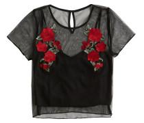 Shirt 'SS Embroidered Mesh Tee' schwarz