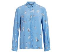 Gemusterte Bluse blau