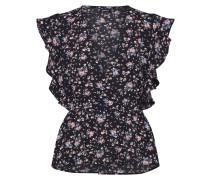 Bluse 'Floral ' schwarz / grau