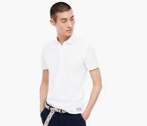Piqué-Poloshirt weiß