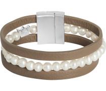 Armband taupe / silber / perlweiß