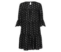 Lockeres Boho-Kleid schwarz / silber