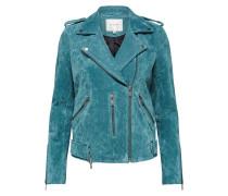 Veloursleder-Jacke blau