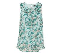 Layer-Top mit Blumenprint grün / mint