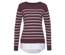 2-in-1-Pullover bordeaux / weiß