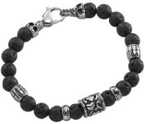 Armband mit Lavasteinen schwarz / silber