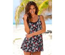 Badeanzug-Kleid rot / schwarz / weiß
