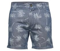 Print Shorts rauchblau / naturweiß