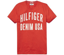T-Shirt mit Logo-Print rot