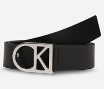 Ledergürtel mit Logo schwarz