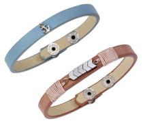 Armband Set rauchblau / rosé / silber