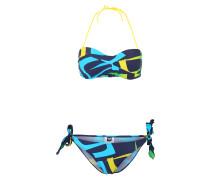 Sport-Bikini 'scrawl' blau / navy / gelb