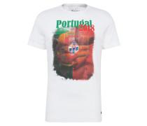 T-Shirt hellgrün / hellrot / weiß