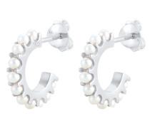Ohrringe Creolen Perlen silber / perlweiß