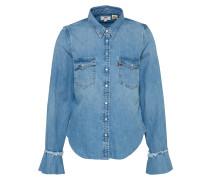 Jeanshemd 'celia Ruffle Western Shirt' blau