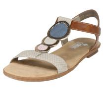 Sandale mit Dekosteinen beige / blau / rosé