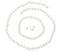 Kette Armband und Ohrstecker mit Perlen (4tlg.)