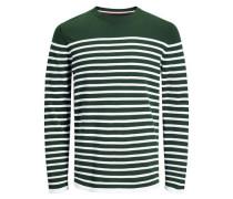 Rundhalsausschnitt-Strickpullover dunkelgrün / weiß
