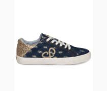 Denim Sneaker low mit Glitzer-Details gold