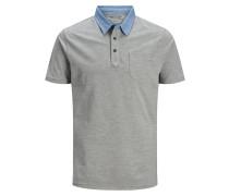 Brusttaschen Poloshirt grau