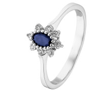 Ring saphir / silber / weiß
