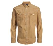 Westernstyle Langarmhemd dunkelbeige